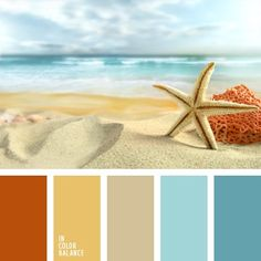Colours of the sea are gathered in this marine colour palette. such as sand, celadon and colour of coral. this colour combination suits well summer beach Colour Pallette, Color Palate, Colour Schemes, Color Patterns, Beach Color Schemes, Summer Colour Palette, Beach Color Palettes, Colour Combinations, Room Colors
