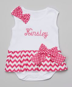 Look at this Magenta Chevron Personalized Skirted Bodysuit - Infant on #zulily today!