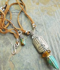 Hand of Greeting Pewter Pendant with Turquoise and by lunedesigns