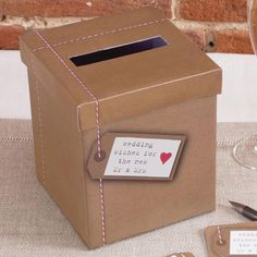 Just My Type Kraft Wedding Wishes Post Box - Confetti.co.uk