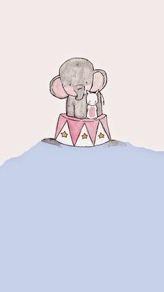 Wallpapers for iphone 5 : from wallpapers app : ios - rabbit & elephant - рисунки рис Elephant Wallpaper, Animal Wallpaper, Elephant Illustration, Cute Illustration, Wallpaper App, Disney Wallpaper, Cute Animal Drawings, Cute Drawings, Cute Images