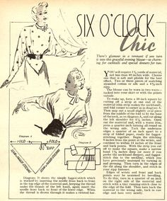 Six o'clock chic - blouses Diy Clothing, Clothing Patterns, Vintage Clothing, Diy Fashion, Retro Fashion, Fashion Design, Sewing Blouses, Make Do And Mend, Diy Couture
