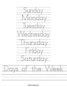 Days of the Week Worksheet from TwistyNoodle.com This site has tons of printable…