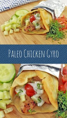 Paleo Chicken Gyro   Daileo Paleo: Combine a few paleo recipes and you have yourself an AWESOME Paleo Chicken Gyro with Greek lemon chicken, dairy-free Tzatziki sauce, and grain-free wraps.