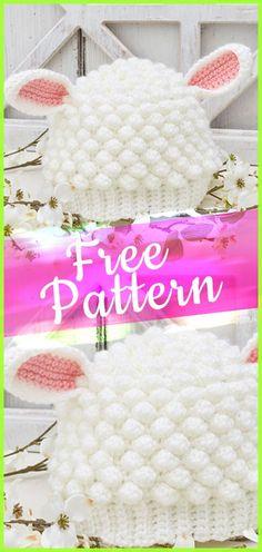 Sweet Lamb Crochet Hat Crochet Pattern #freecrochet #crochet #patterncrochet #crochetpatterns