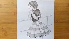 The girl is standing on the roof // How to draw a girl with pencil sketch Pencil Sketches Of Girls, Girl Drawing Sketches, Girly Drawings, Art Drawings Sketches Simple, Amazing Drawings, Realistic Drawings, Drawing Faces, Abstract Pencil Drawings, Pencil Sketch Drawing