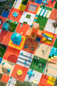 is part of architecture - has recently completed Pixeland, a colorful playground in Mianyang, China, inspired by the digital concept of pixels Playground Design, Outdoor Playground, Modern Playground, Digital Playground, Plans Architecture, Landscape Architecture, Urban Landscape, Landscape Design, Urban Design