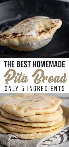 A step-by-step guide to making pita bread at home! This recipe is easy and requires just 5 simple ingredients. After making pita bread at home, you won't ever want store-bought pita ever again! recipes easy Homemade Pita Bread {Just - Sweet Simple Vegan Homemade Pita Bread, Homemade Recipe, Pita Bread Recipes, Pita Bread Pizza, Vegan Pita Bread Recipe, Healthy Pita Bread, Simple Bread Recipe, Healthy Breads, Homemade Vanilla