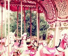 There is nothing as transportive as a pink carousel!