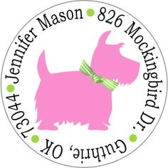 PREPPY SCOTTIE DOG ADDRESS LABELS-pink and green