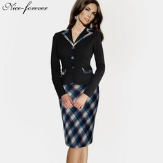 Vintage Plaid Polka Dot Sheath Formal Work Dress $34.99   => Save up to 60% and Free Shipping => Order Now! #fashion #woman #shop #diy  http://www.yiclothes.net/product/nice-forever-vintage-plaid-polka-dot-sheath-formal-work-dress-buttons-notched-full-sleeve-business-casual-pencil-dress-b246/