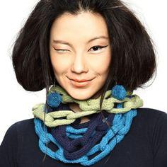 Shokay's popular Chainlink Necklace & Pom Pom Earrings