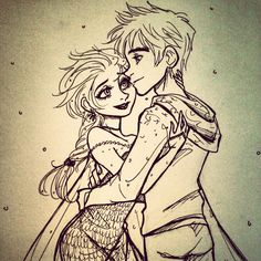 Commission for ceacee.tumblr.com Elsa and Jack Frost ❄❤❄ And hell im gonna color this no extra charge
