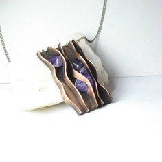 The wave has brought amethyst Copper jewelry by JewelryPleaseShop