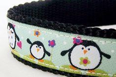 Happy Penguin Family Dog Collar / Adjustable by daydogdesigns, $17.50