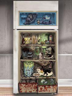 Décoration de frigo zombie : Cette décoration de frigo mesure 1,65 m de hauteur pour 85 cm de largeur.Elle représente ce que serait le frigo et la nourriture d'un zombie.Pour donner faim...
