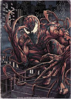 Heres a look at the finished coloured version of my 'Carnage' art. I liked the B&W version, but feel the iconic look of Carnage needs colour. So this is the version I have available as a Ltd Ed...