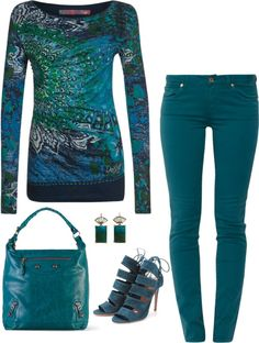 Desigual - teal is one of my favorite colors. This outfit is amazing! Want the pants and the shirt!!!