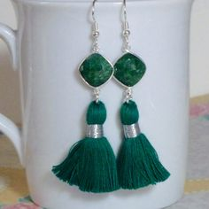 Emerald Gemstone Tassel Earrings by #DolphinMoonCreations #emeraldearrings #tasselearrings #handmade #etsyjewelry                                                                                                                                                                                 More
