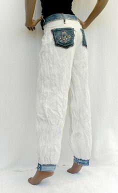 White & Denim White crumpled pants with recycled jeans   Etsy