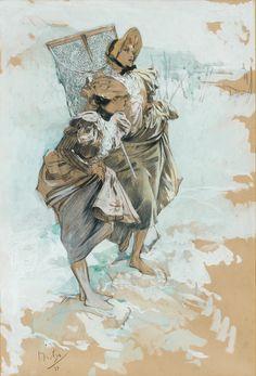 amare-habeo: Alphonse Mucha (1860-1939), Czech SchoolFishing (Partie de pêche), 1897