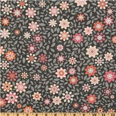 This is an 100% cotton with pretty pink daisies on grey - Silent Cinema collection. Love it.