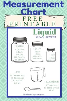 How many cups in a quart, pint or gallon? Printable Chart for success! Liquid Measurement Conversion, Kitchen Measurement Conversions, Measurement Chart, Kitchen Measurements, Green Living Tips, Meal Planning Printable, Cleaning Recipes, Simple Life Hacks, Frugal Tips
