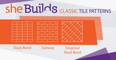 Tile layouts for DIY tiling jobs at home. If you want to try your hand at laying tiles in your next bathroom, kitchen or laundry renovation here are the three best tile patterns to women renovators should try first. How To Lay Tile, Next Bathroom, Floors And More, Tile Layout, Tiling, Home Jobs, Tile Patterns, Home Improvement, Flooring