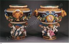 CARRIER-BELLEUSE (1824-1887)   Monumental pair of Minton Majolica Jardinières     Hammer price USD 70,000  EUR 64,208 - USD 70,000 - GBP 41,902   Estimate USD 80,000 - 120,000   Indicative values Artprice Indicator  Category  Ceramics     Medium Ceramic (2)   Location New York NY (UNITED STATES)   Size H 83.5 cm - ( H 32 7/8 in)   Auction house Sotheby's