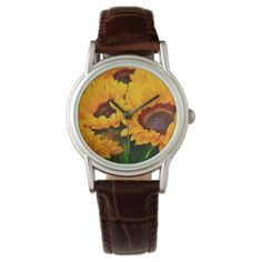 Beautiful Orange and Yellow Sunflower Painting Wrist Watch - floral style flower flowers stylish diy personalize