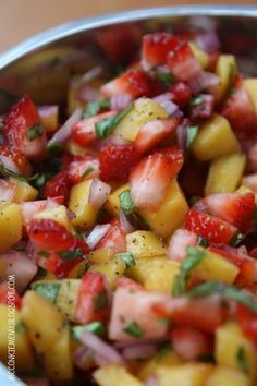 Strawberry Mango Salad...a refreshing, summer salsa with red onions, basil leaves, lemon juice, sea salt,  black pepper. - Click image to find more food & drink Pinterest pins