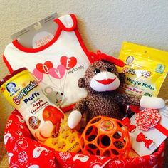 Awe! This precious little Valentines basket was for a 1 year old girl. Sock monkeys are the best!