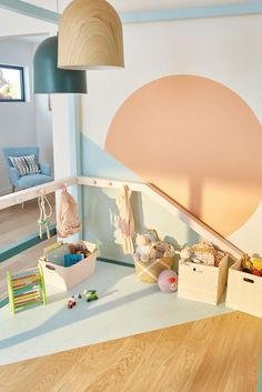 Soft colors for childrens playroom Kids Wall Decor, Playroom Decor, Art Wall Kids, Playroom Ideas, Baby Bedroom, Baby Boy Rooms, Kids Bedroom, Modern Playroom, Modern Bedroom
