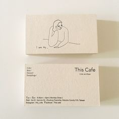 A minimalist business card design by Yu Fan Ye (who also known as 'Fan') for This Café, a coffee shop located in Hsinchu, Taiwan. design This Cafe Business Card Calling Card Design, Name Card Design, Café Branding, Branding Design, Coffee Shop Branding, Corporate Branding, Minimalist Business Cards, Cool Business Cards, Business Card Design Inspiration