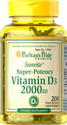 Puritans Pride Vitamin D3 2000 IU200 Softgels ** To view further for this item, visit the image link.