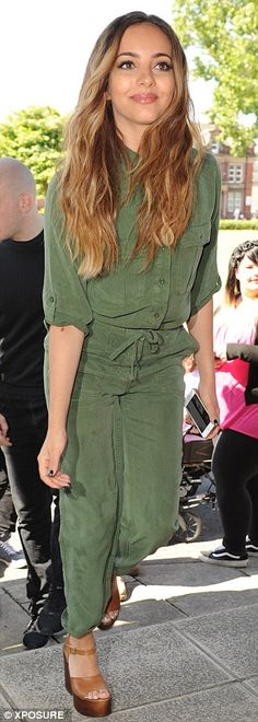 Suited up: Jade Thirlwall covered up in a chic khaki jumpsuit, which she teamed with brown...