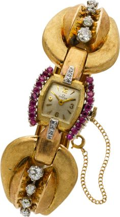 Gold Ruby and Diamond Watch