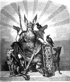 Odin enthroned and holding his spear Gungnir, flanked by his ravens Huginn and Muninn and wolves Geri and Freki