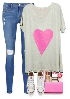 """""""Valentine's Getting Close!"""" by red-velvet-n-pearls ❤ liked on Polyvore featuring Frame Denim, SLC-SLC, Marc Jacobs, tarte, NARS Cosmetics, Kate Spade, Converse, women's clothing, women and female"""