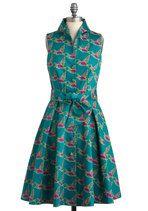 Backyard Feast Dress in Birds   Mod Retro Vintage Dresses   ModCloth.com
