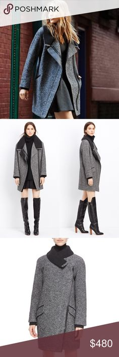 Amazing Vince Shawl Collar Wool/Leather Moto Coat Size L wool blend coat with lamb leather trim and a ribbed shawl collar and cuffs. Moto details like an asymmetrical zip and slanted zippered pockets. Brand new with tags. More photos and measurements to come. Vince Jackets & Coats