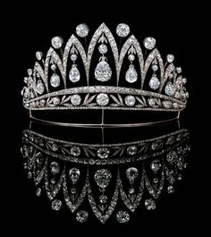 Antique Diamond tiara, by Faberge.  Holy Smokes!  Look at the size of those pear cut stones!