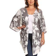 e5cb1fdd65 Poliana Plus Gray Lily Split-Hem Kimono ( 20) ❤ liked on Polyvore featuring