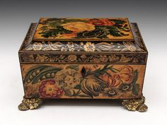 Wonderful example of a Painted Penwork Sewing Box, all applied on white wood sycamore box with a quite beautiful shape. This is one of the best we have had for a very long time and the quality of the work is very high. It's painted all round with a mixture of beautiful flowers and green foliage.