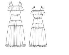 Платье длинное с вырезом кармен - выкройка № 121 из журнала 7/2014 Burda – выкройки платьев на Burdastyle.ru