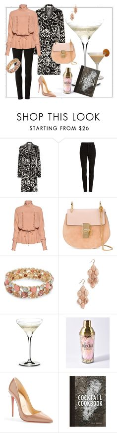 """After work Cocktail"" by maya1705 ❤ liked on Polyvore featuring Tory Burch, Citizens of Humanity, Stella Jean, Chloé, Design Lab, Theia Jewelry, Riedel and Christian Louboutin"