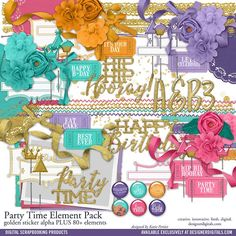 Party Time Element Pack scrapbooking embellishments perfect for birthday cards and scrapbooking #designerdigitals