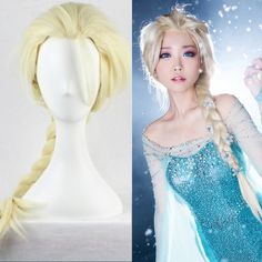 Chất Lượng cao Anime Cosplay Tóc Giả Đông Lạnh 80 cm Dài Thẳng Elsa Chúa Tóc Giả cho Phụ Nữ Nữ Fake Tóc Bện Tóc Giả Blond