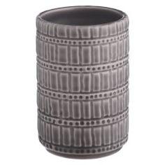 KARACHI Grey patterned bathroom beaker