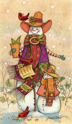 Artist Janet Stever is one of America's top painters of Christmas and holiday art, as well as lovely floral decorative wall art. Christmas Clipart, Christmas Printables, Christmas Pictures, Christmas Snowman, Christmas Crafts, Xmas, Merry Christmas, Illustration Noel, Christmas Illustration